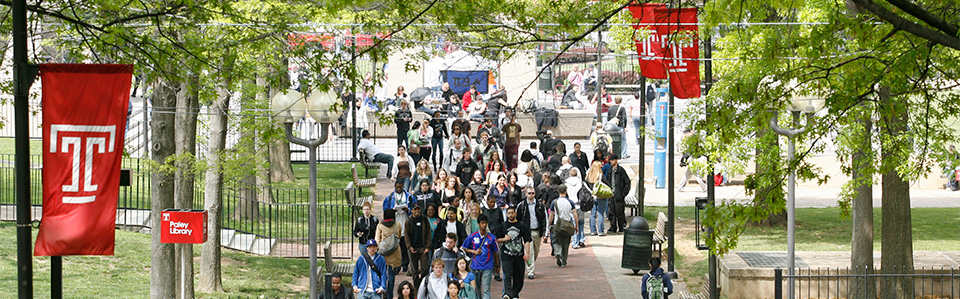 Image of students walking across Temple's campus